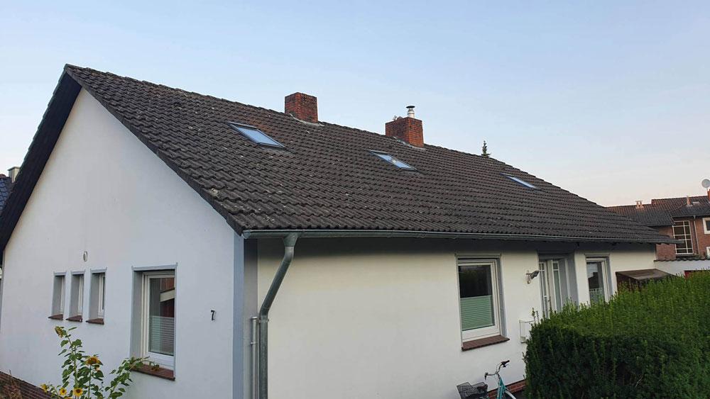 Chantier avant nettoyage de la toiture